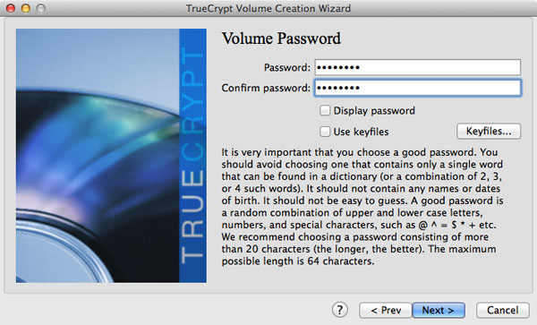 Setting the TrueCrypt volume's password