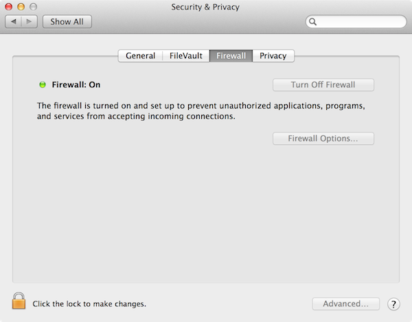OS X's Firewall is integral to local network security.