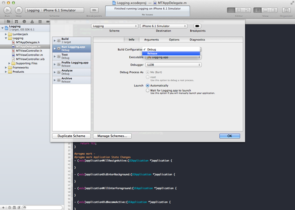 CocoaLumberjack: Logging on Steroids: Editing the Active Scheme in Xcode - Figure 4