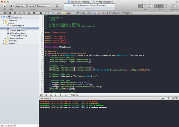 CocoaLumberjack: Logging on Steroids: Adding Color to Xcode's Console - Figure 5