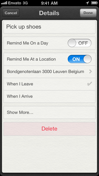Geofencing with Core Location: Geofencing in the Apple's Reminders Application - Figure 1