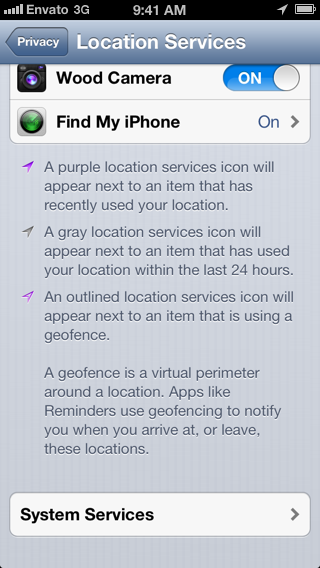Geofencing with Core Location: Location Services Icons - Figure 10
