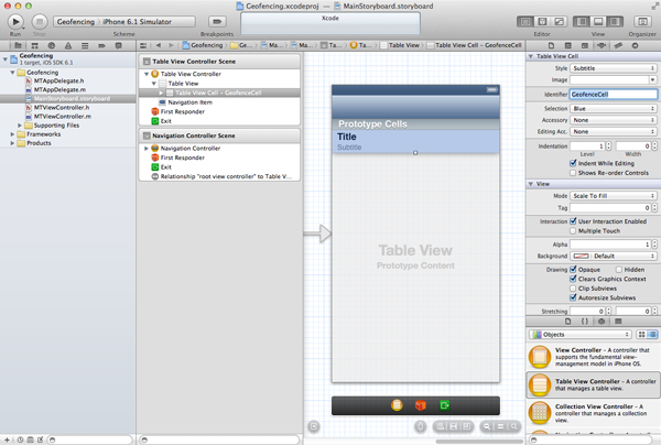 Geofencing with Core Location: Configuring the Table View's Prototype Cell - Figure 6