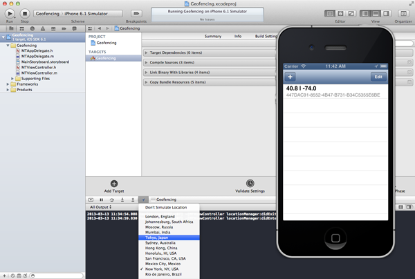 Geofencing with Core Location: Changing the Simulated Location of the iOS Simulator - Figure 9
