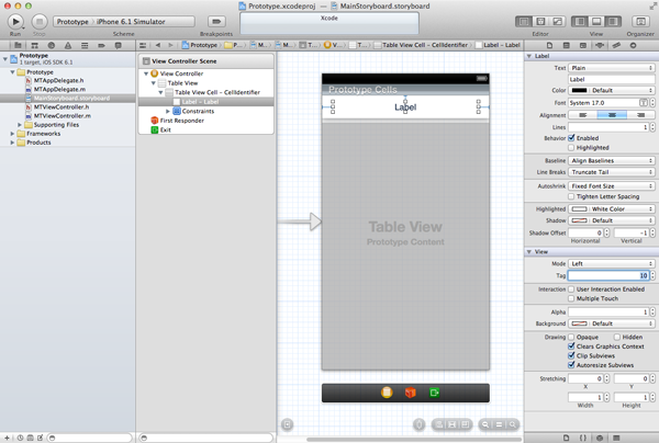 Customizing Table View Cells - Prototype Cells - Setting the Tag of a Subview in the Content View of the Prototype Cell