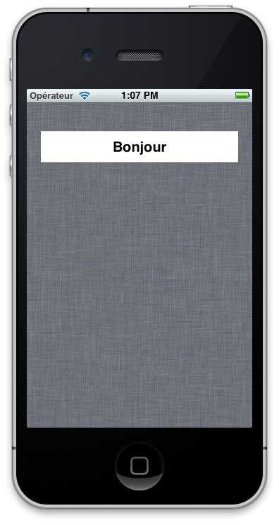 Localization: screenshot of app showing label that reads Bonjour