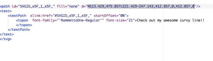 screenshot: highlight path data code