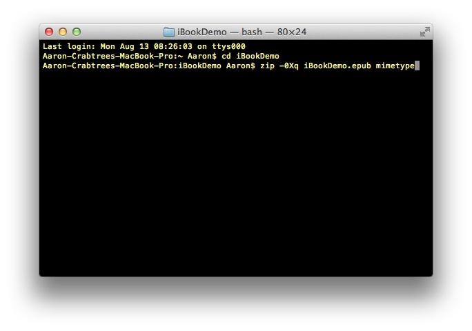 Screenshot: Terminal command line one