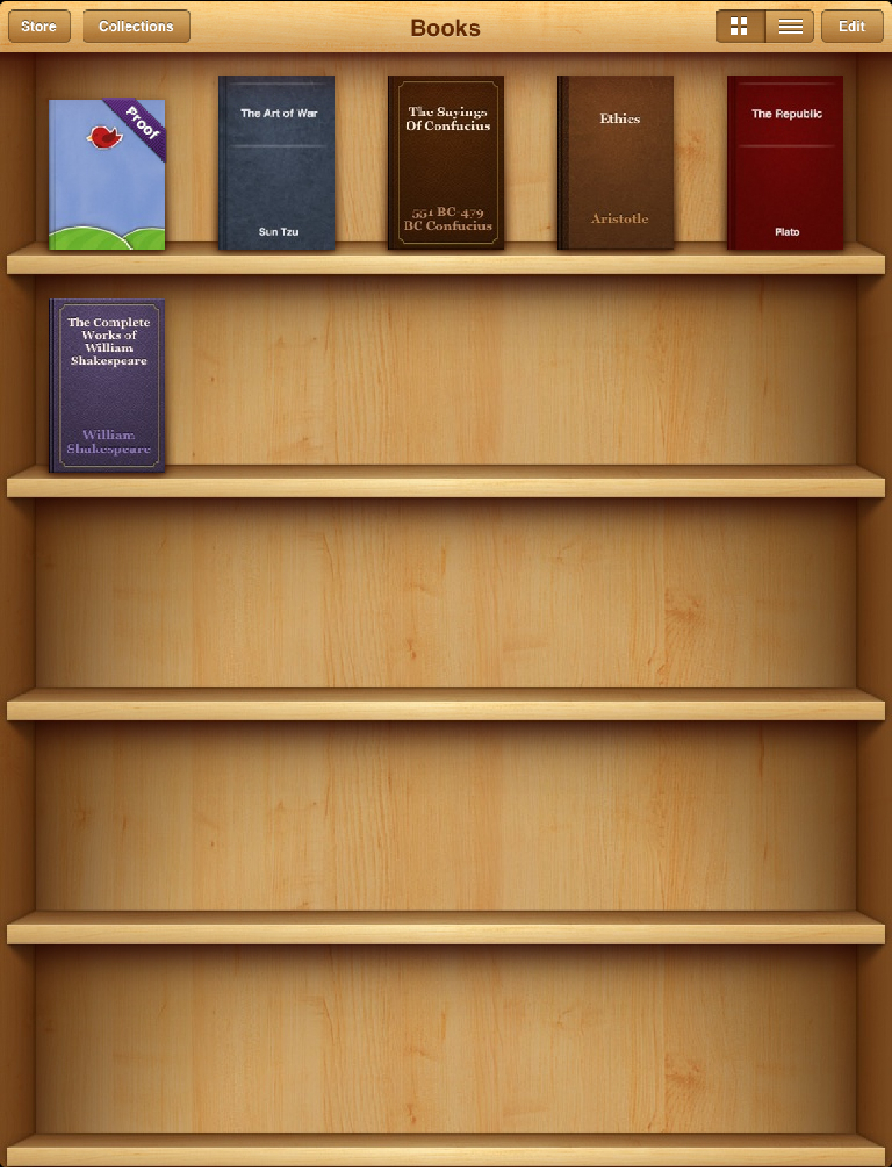 Screenshot: bookshelf of iBooks app with a few books on the shelf