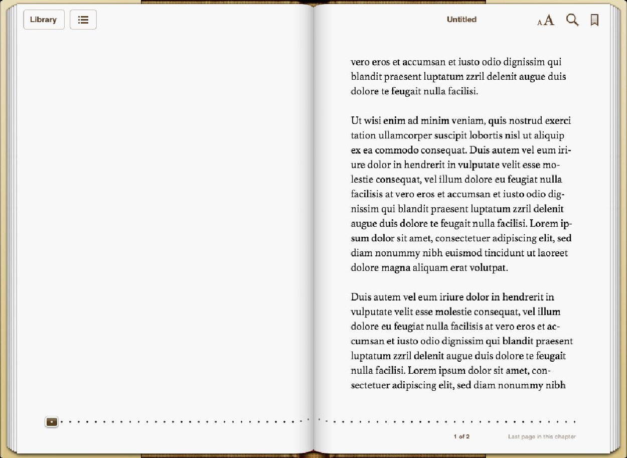 Screenshot: a Flowing Text iBook
