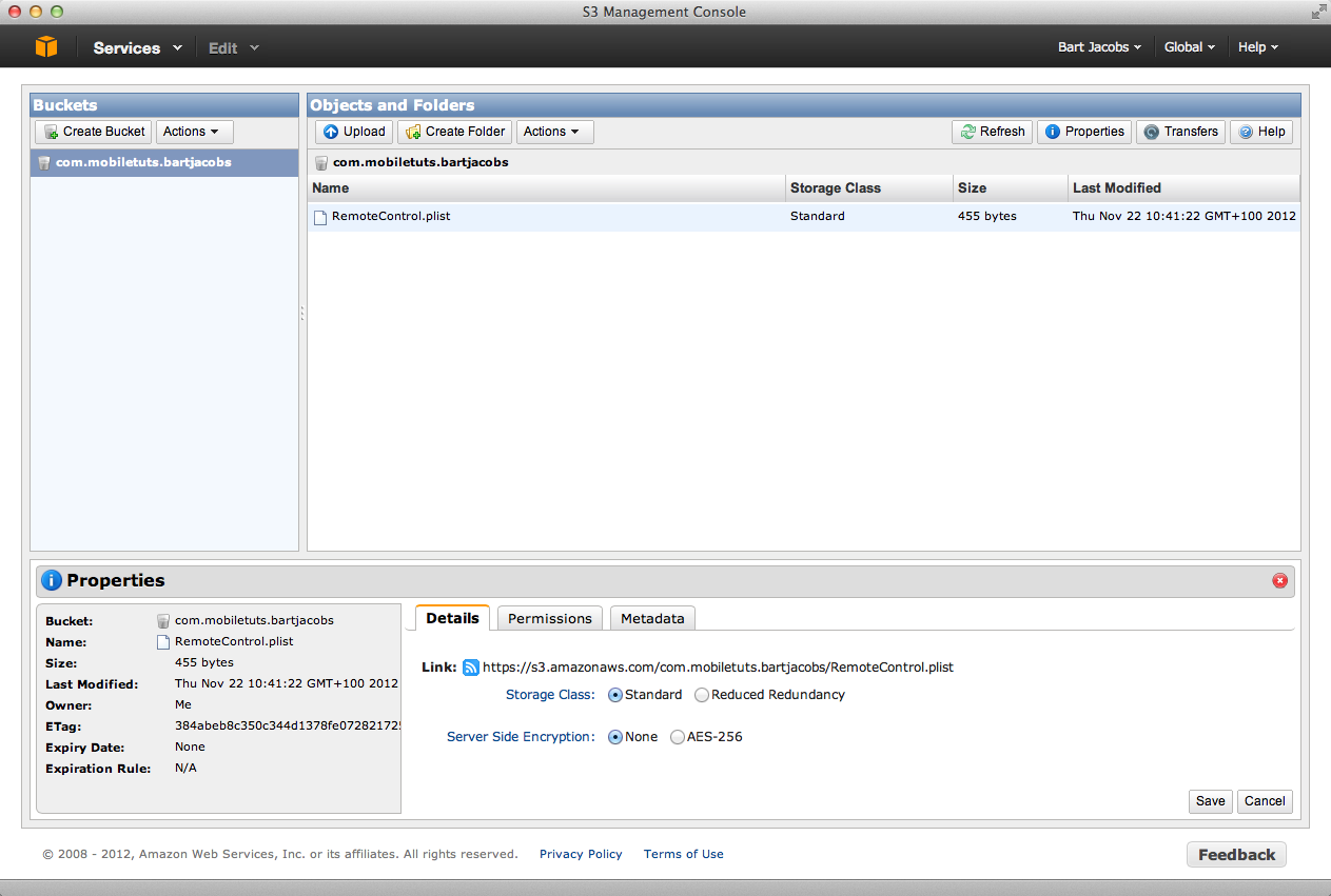 Update Your Applications with Dropbox or GroundControl: Copy the URL in the AWS Console - Figure 8