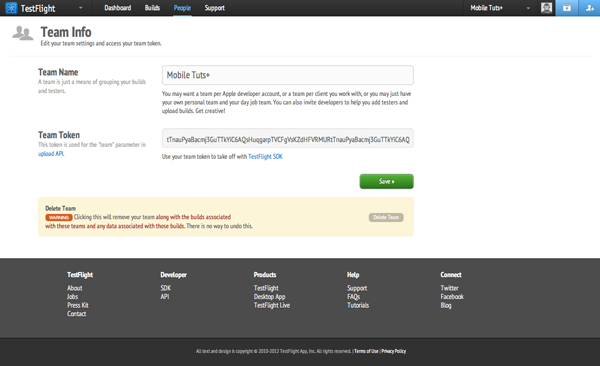 Testing with TestFlight: Copy and Paste the Team Token - Figure 10