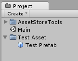 Project panel with asset