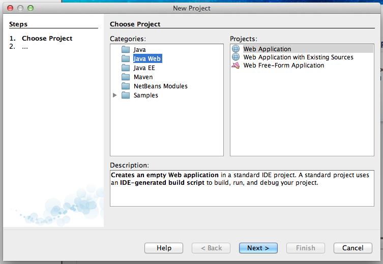 Figure 4: Start a new Java Web Application