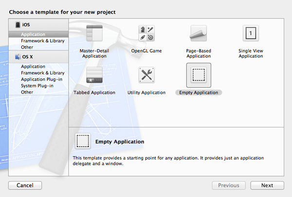 New in iOS 6: UIRefreshControl: Choosing a Project Template - Figure 1