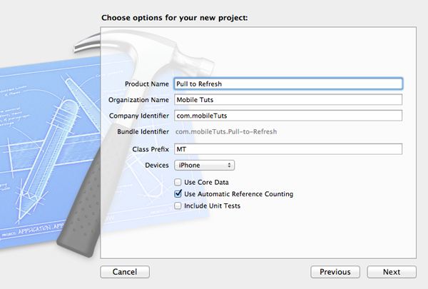 New in iOS 6: UIRefreshControl: Configuring the New Project - Figure 2
