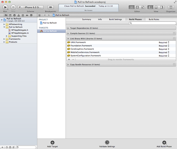 New in iOS 6: UIRefreshControl: Adding the Required Frameworks - Figure 4
