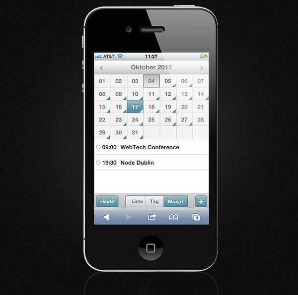 Mobile Event Calendar - German Locale