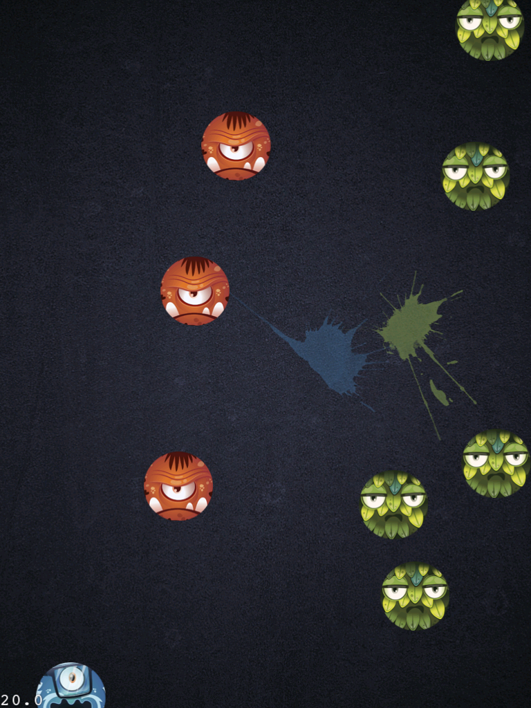 Figure 1: Monster on Screen with splash animation