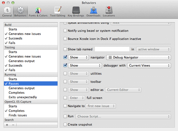 iOS Quick Tip: 5 Tips to Speed Up Your Development - Managing Behaviors in Xcode's Preferences Window