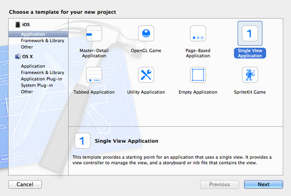 Create a new project in Xcode 5.