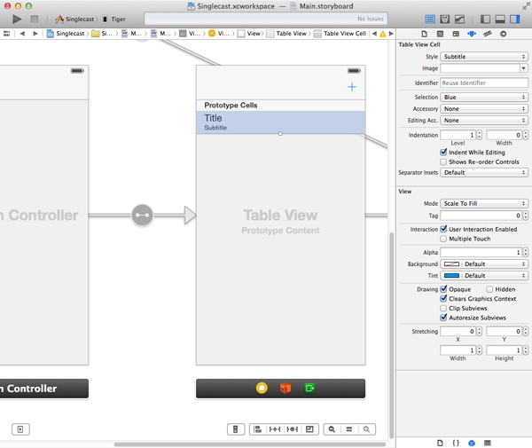 Adding a table view to the view controller.
