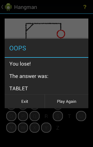 Android Hangman Game Lose