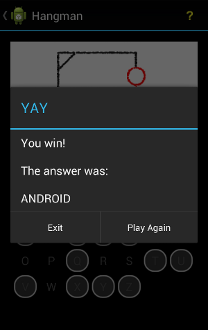 Android Hangman Game Win