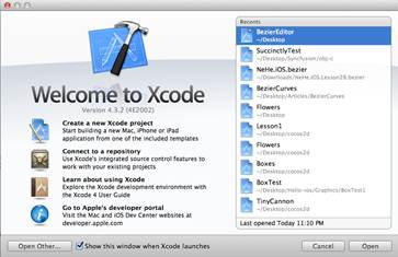 Figure 4: The Xcode welcome screen