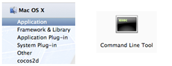 Figure 5: Mac OS X template categories and Command Line Tool template icon