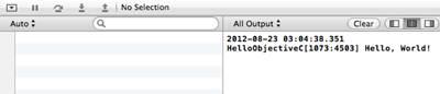 Figure 9: HelloObjectiveC log output