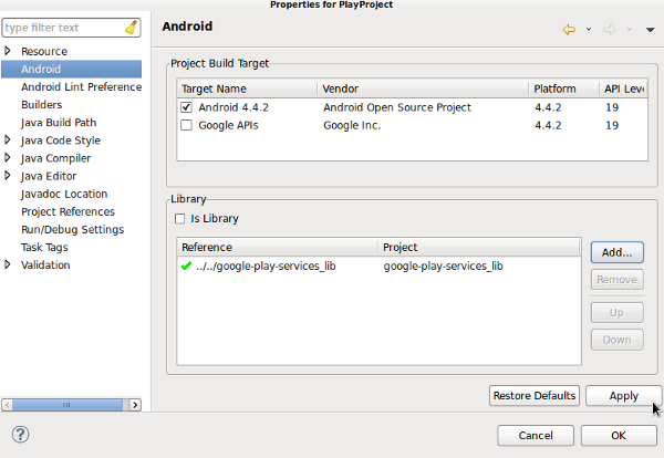Integrating Google Play Services on Android