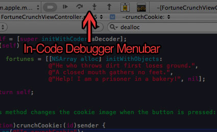 Xcode Debugging - Figure 6 - In-code Debugger Menu Bar