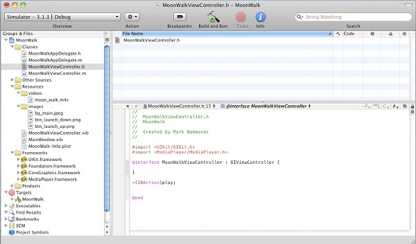 iOS Media Player Framework Step 4 - Adding the Framework in MoonWalk ViewController