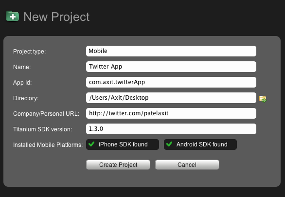 Appcelerator: Create a New Project
