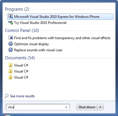 Searching for Visual Studio 2010 Windows Phone 7 Development