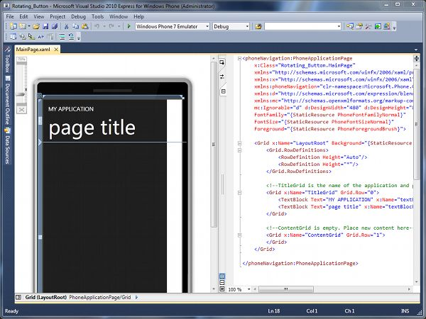 The MainPagexaml file open in DesignCode Mode Windows Phone 7 Development