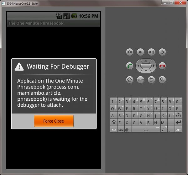 Android Debugging Screen.