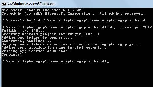 PhoneGap Command Line Android