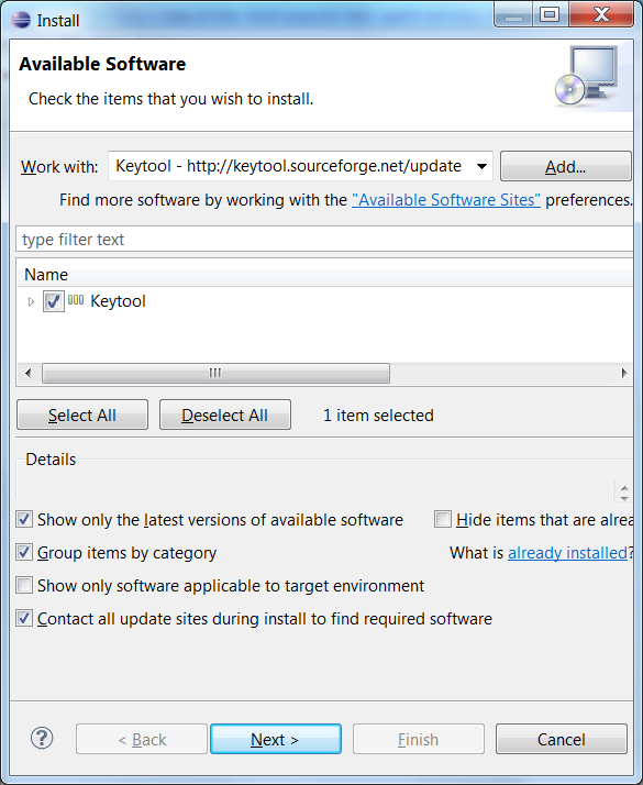 Installing Keytool plugin Step 3