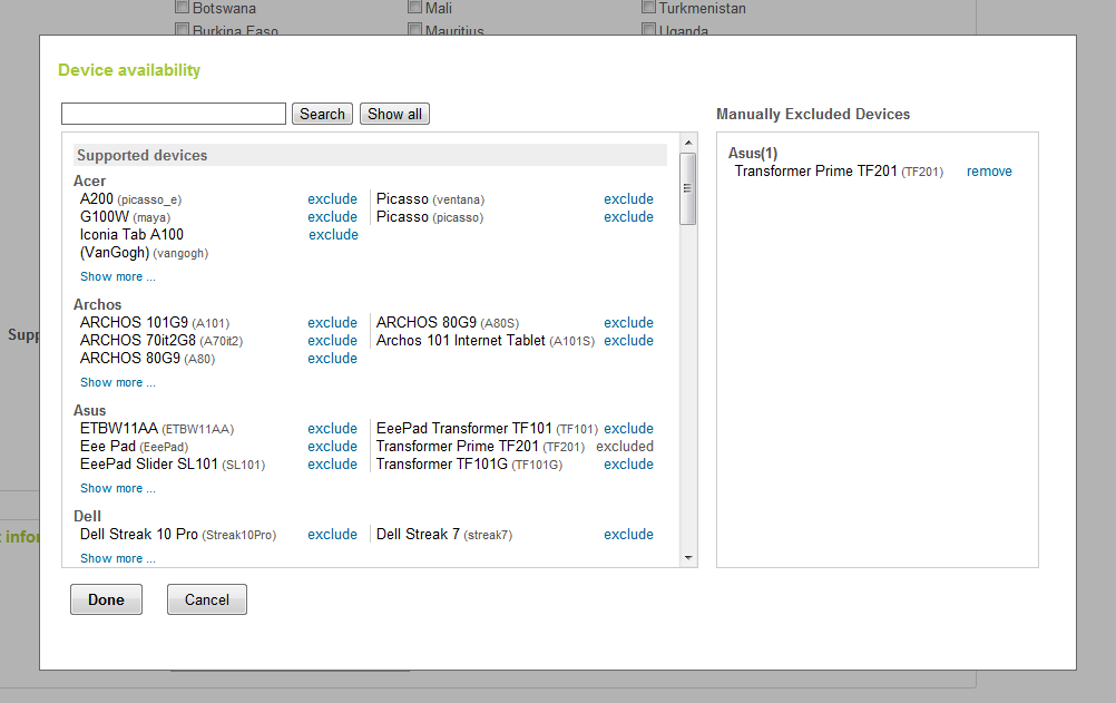 Manually Excluding the Asus Transformer Prime