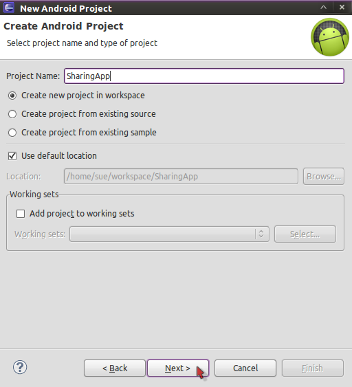Creating a New Android Project in Eclipse