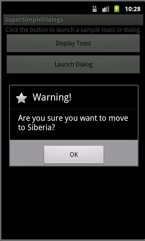 A Basic AlertDialog with an OK button