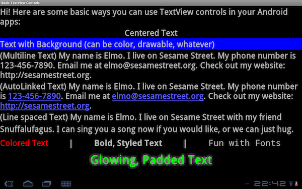 Android screen with numerous TextView controls