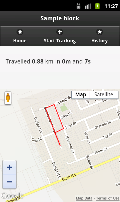 Android gps tracking sample code.