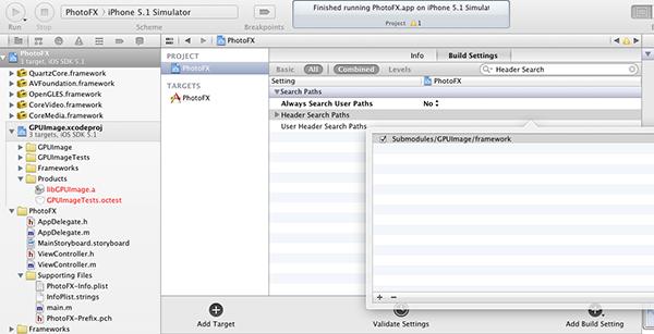 Figure 11: Adding GPUImage Framework
