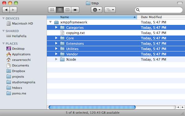 XMPP Framework Folders