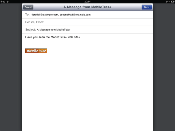 iPad mail interface