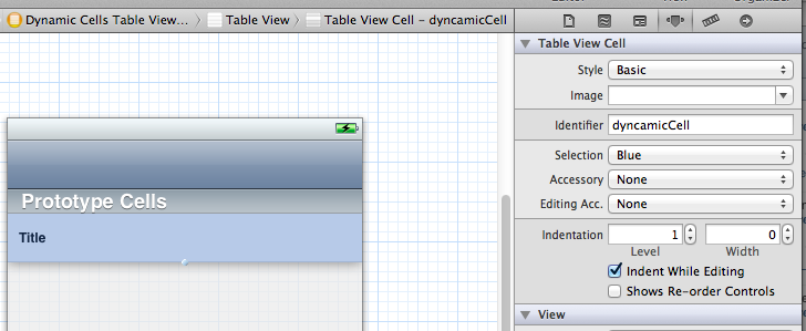 Dynamic Table View Cell Definition