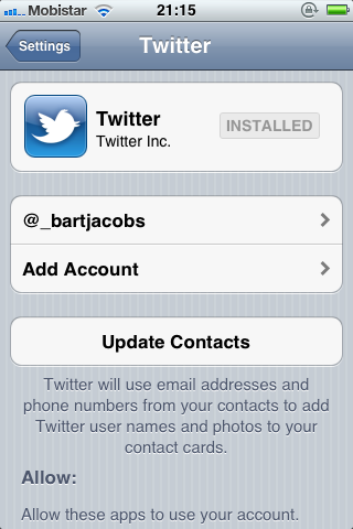 iOS 5 and The Twitter Framework (Part 1): Twitter Accounts - Figure 2